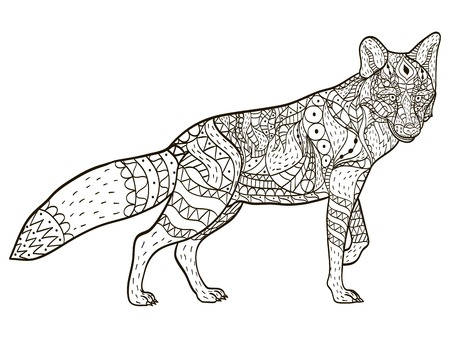 Fox Coloring book vector for adults Illustration