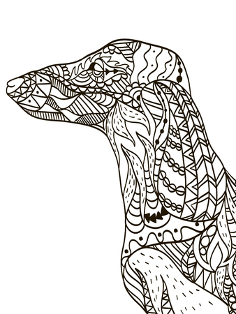 bloodhound: Dachshund head coloring book for adults vector
