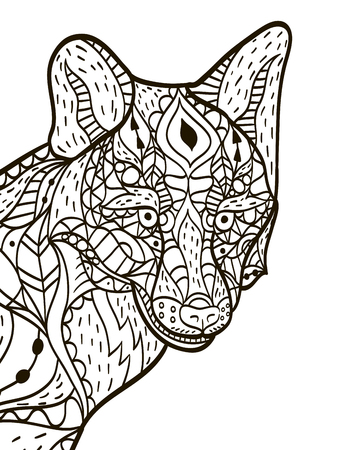 Fox head Coloring book vector for adults
