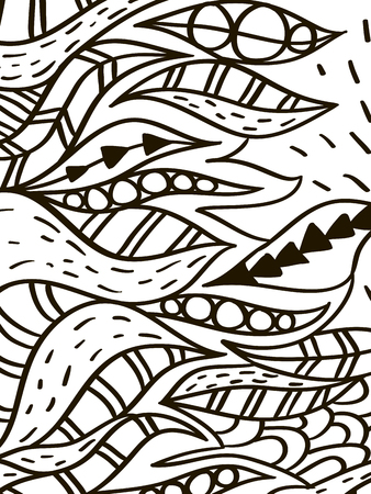hokusai: Wave leaves coloring book for adult vector Illustration