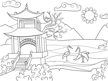 Libro De Colorear De La Naturaleza De Japón Para Niños De Dibujos ...