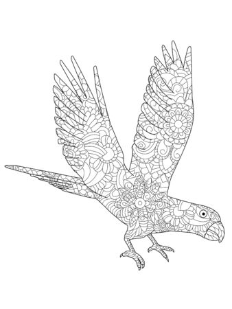 Vector illustration of a parrot Ara flying coloring book Illustration