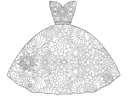 Vector illustration of dress princess coloring book