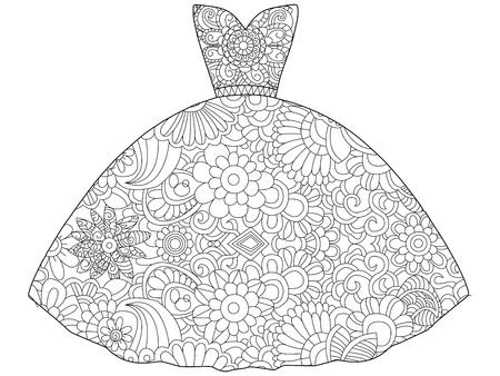 Vector illustration of dress princess coloring book