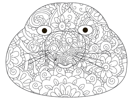 Vector coloring for adult head talpidae Illustration