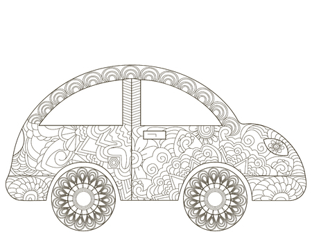 Baby toy car Coloring book vector for adults