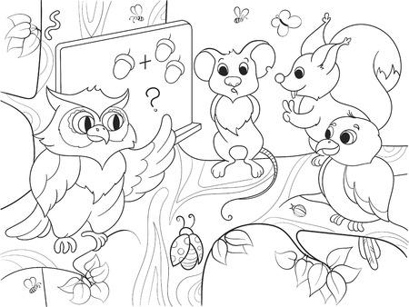 Lección en la escuela de un búho en el bosque libro para colorear para niños ilustración vectorial de dibujos animados. Ratón blanco y negro, clase, ardilla, gorrión Ilustración de vector