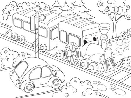 Cartoon Train Train And Car Coloring Book For Children Cartoon ...