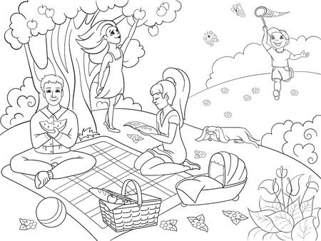Picknick im Naturmalbuch für Kinderkarikatur-Vektorillustration. Schwarz und weiß Standard-Bild - 77763900