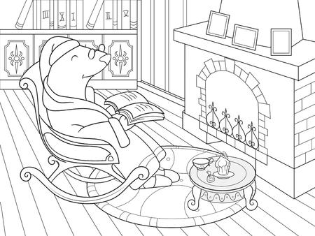 Familia De Tejones En Su Casa En La Cocina Para Colorear Libro De