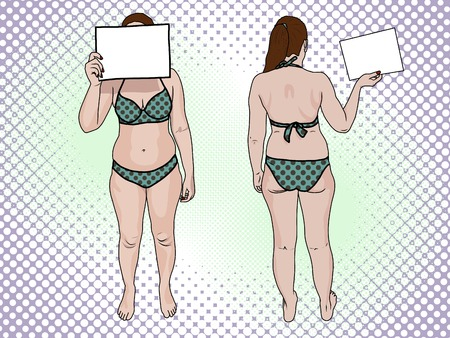 A fat woman in a swimsuit holds a sign pop art retro style. Front view and back