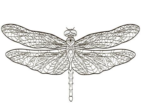 Vector De Colorear Libélula Insectos Para Adultos Ilustraciones ...