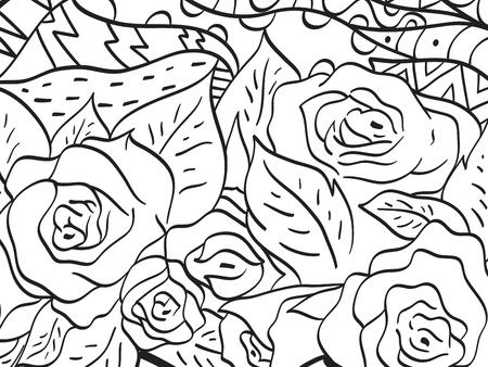 大人のためのパターン花ローズ色ベクトル
