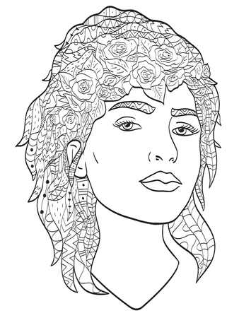 Beautiful sketch girl with long hair coloring vector for adults