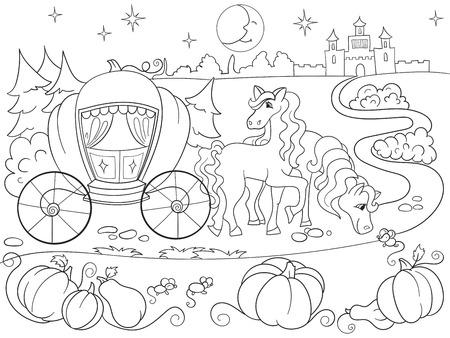 Cinderella Fairy Tale Coloring Book For Children Cartoon Vector ...
