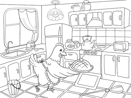 Mom chicken in the kitchen prepares food for the family coloring book for children cartoon vector illustration Çizim