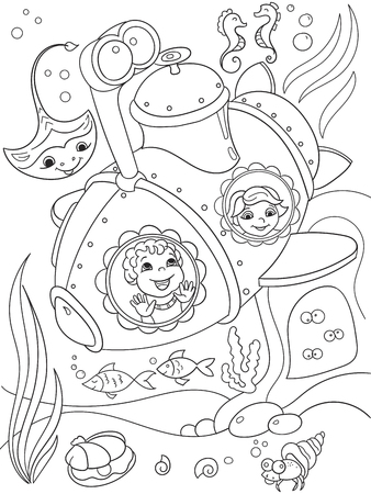exploring: Children exploring the underwater world in a submarine coloring pages for children cartoon vector illustration