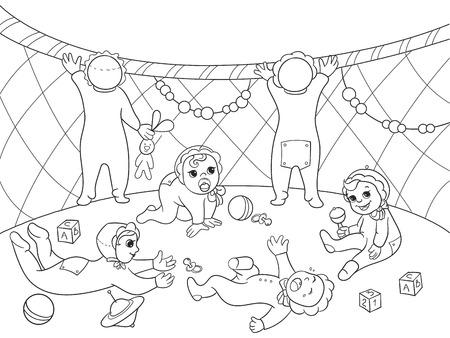 child care: Kindergarten coloring book for children cartoon vector illustration