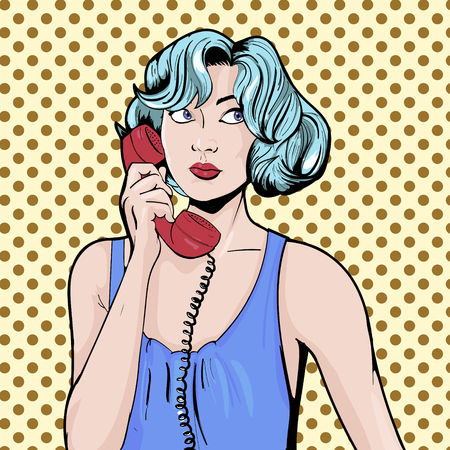 coworker: Woman with phone pop art retro vector illustration. Comic book Illustration