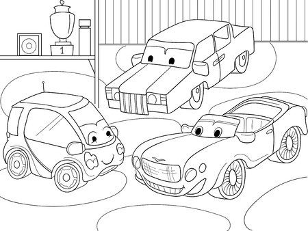 interesting: Childrens cartoon coloring book for boys. Vector illustration of a garage with live cars Illustration