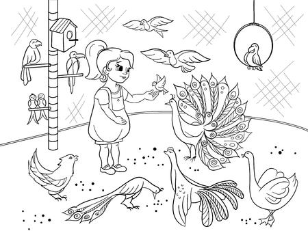Dibujos Animados De Niños Para Colorear El Zoológico De Aves De ...