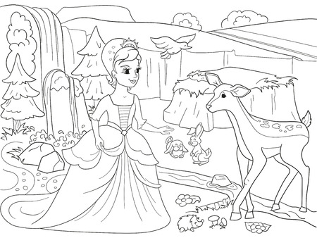 Snow White in the woods with animals. Tale, cartoon, coloring book black lines on a blank background Stock Vector - 80960305