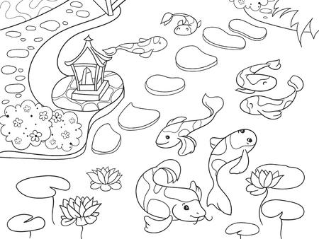 Nature Of Japan Coloring Book For Children Cartoon Japanese Garden Vector Illustration Stock