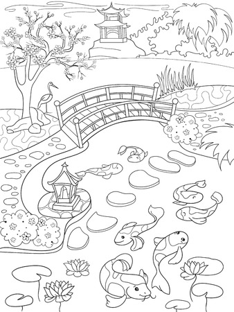 Nature Of Japan Coloring Book For Children Cartoon. Japanese ...