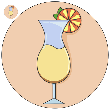 A Cocktail in a glass vector icon illustration. Illustration