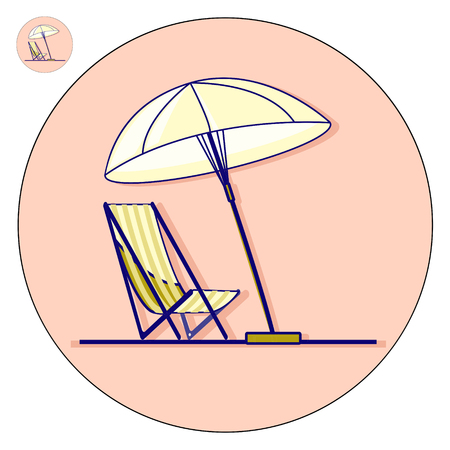 furniture design: Beach chaise longue with umbrella vector flat illustration. Holiday icon