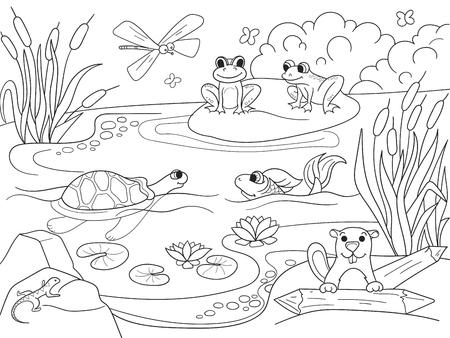 大人のためのベクトルを着色動物と湿地の風景