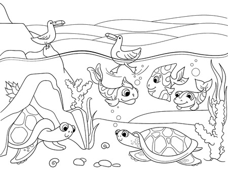 Wetland landscape with animals coloring book for adults vector illustration. Underwater world with turtles In the lake. Black and white lines