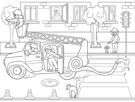 Snow White in the woods with animals. Nursery tale, cartoon, coloring book black lines on a blank background Illustration