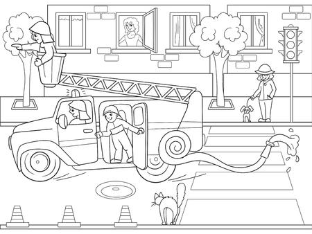 Sneeuwwitje in het bos met dieren. Kleuterschool, cartoon, kleurboek zwarte lijnen op een lege achtergrond