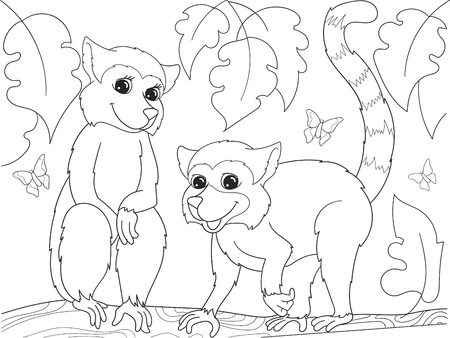 Childrens coloring book cartoon family of lemurs on nature. For adults vector illustration. Anti-stress for adult. Black and white lines Ilustração
