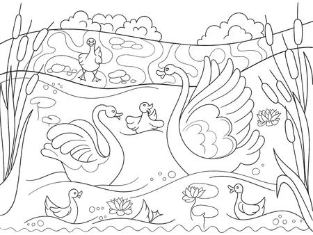 Kleurende het boekbeeldverhaalfamilie van kinderen van Zwaan op aard.