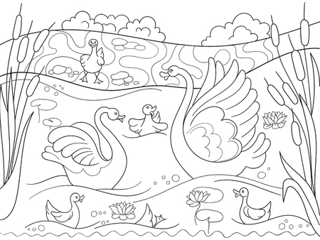 Childrens coloring book cartoon family of Swan on nature.
