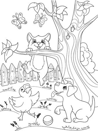 Niños Para Colorear Amigos Animales De Dibujos Animados En La