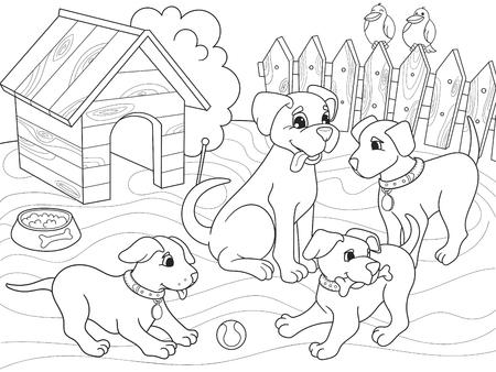 Niños Para Colorear Familia De Dibujos Animados De Libro En La