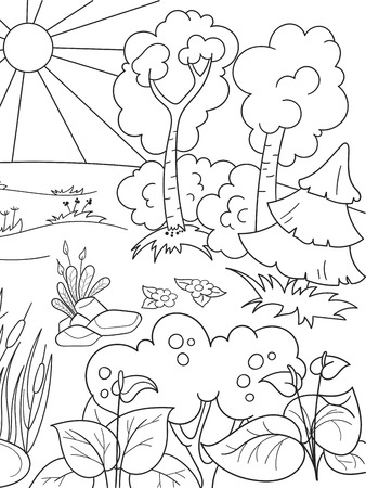 Cartoon coloring book black and white Nature. Glade in the forest with plants.