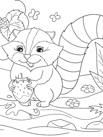 rinse: Cartoon coloring book black and white Nature. American, northern raccoon and coon washes strawberries Illustration