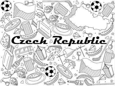 Czech Republic line art design raster illustration
