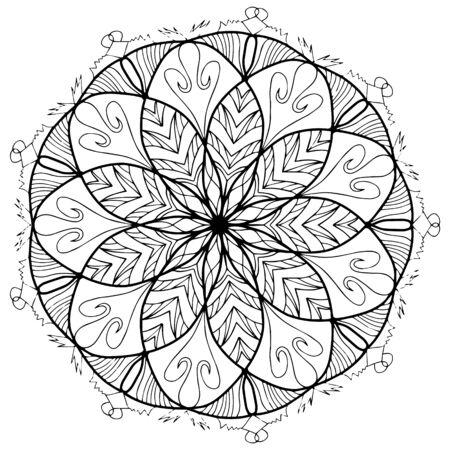 大人のためのベクトルを着色曼荼羅花