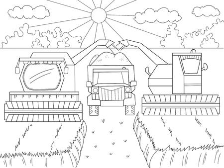 Cartoon, coloring book for children. Autumn harvesting of wheat. Agricultural machinery. Combine harvester and kamaz.