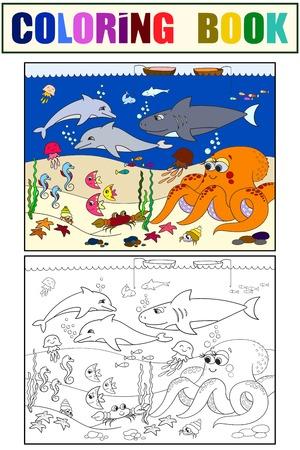 Fondo Marino Con Animales Marinos. Vector Para Colorear Para Niños ...