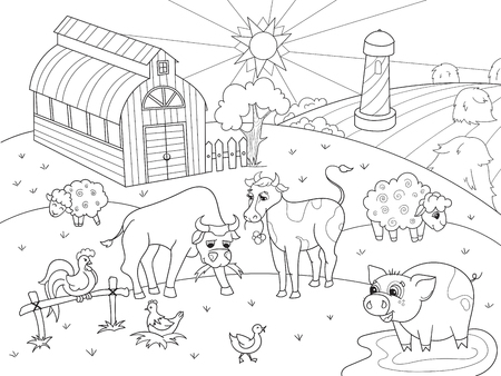Farm animals and rural landscape coloring vector for adults