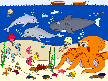 Seabed with marine animals. Vector for kids, cartoon.