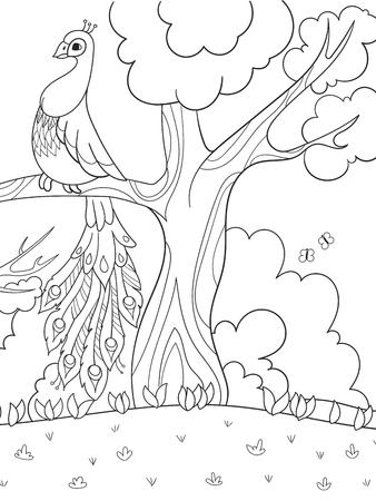 Dibujos Animados Para Colorear Para Niños. Un Pájaro, Una Pluma De ...