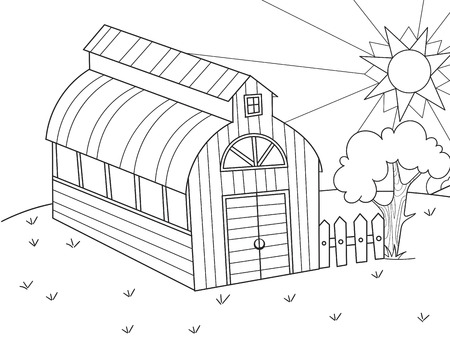 The location of agriculture. Hangar for food for animals. Barn. Vector of a book coloring book, a childrens cartoon
