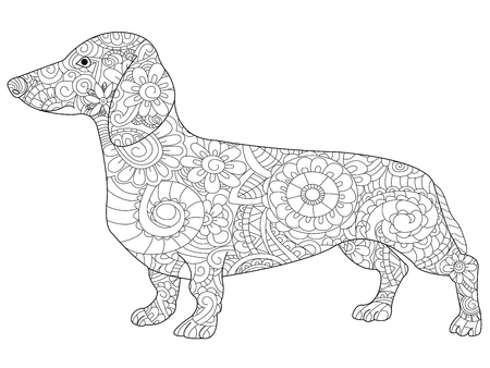Dachshund coloring book for adults raster